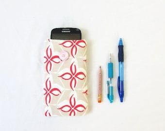 Iphone 6 sleeve, Hand printed fabric, fabric IPhone cover, phone sleeve Samsung Galaxy s5 s6 s7, IPhone 6, HTC m8, handmade in the UK