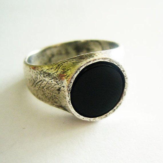 black onyx silver ring black signet ring black
