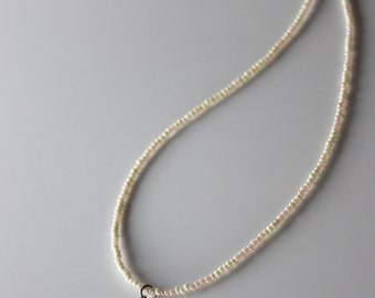 Necklace ivory & pale coral iridescent seed bead pearl droplet wedding bridal