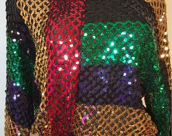 FREE  SHIPPING  Vintage  Sequin Pullover  Blouse