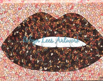Freaky Craquelure Lips Artwork Print in Browns, Graphic Illustration Art in Ink and Pencil