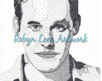 Nicholas Brendon Art Print, Stippling Dots in Ink, Actor as Xander from Buffy Inspired