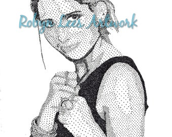 Sarah Michelle Gellar Art Print, Stippling Dots in Ink Artwork Actress as Buffy from Buffy Inspired