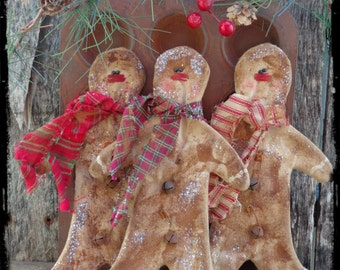 Primitive Gingerbread Men Ornies, Country Christmas Tree Ornament, Bowl Fillers, Tucks, Package Topper, Gift Tag, OFG FAAP