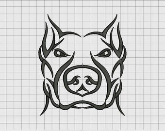 Pit Bull Dog Tribal Tattoo Embroidery Design in 3x3 4x4 5x5 6x6 and 7x7 Sizes
