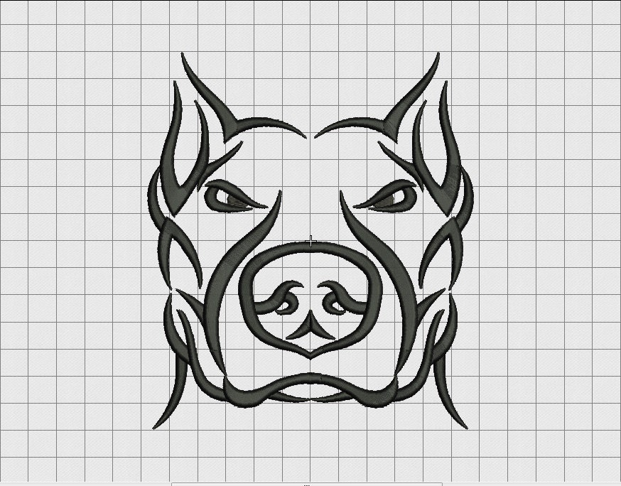 pit bull dog tribal tattoo embroidery design in 3x3 4x4 5x5. Black Bedroom Furniture Sets. Home Design Ideas