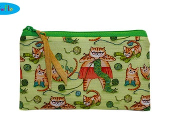Knitting Notions Pouch | Zippered Knitting Bag | Cat Zipped Bag | Cats Knitting Bag | Cat Zipper Pouch