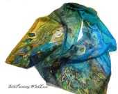 Silk scarf hand painted. Peacock Feather scarf. Ready to go. Art wearable. Whimsical Party shawl Green blue. Artistic Birthday gift for her.