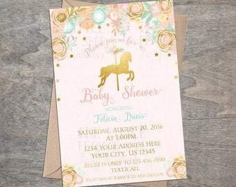Pink Gold Carousel Baby Shower Invitation | Digital Printable Peach Mint horse princess carnival floral confetti watercolor Baby Sprinkle