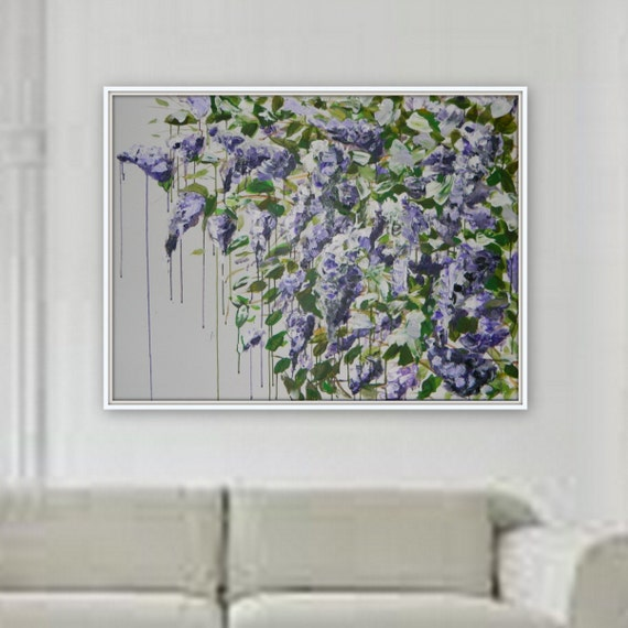 Large purple lilac original acrylic painting flower art floral decor wall art large painting home decore wall art ready to hang xl painting
