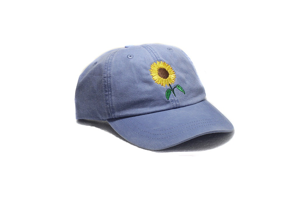 Sunflower embroidered hat baseball cap flower gardening