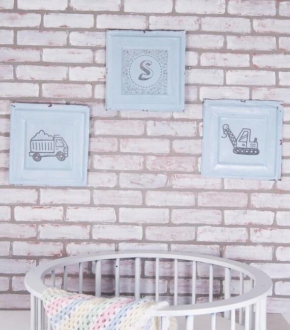 Vintage Wall Decor For Nursery : Antique nursery decor boy wall three piece by poseybeans