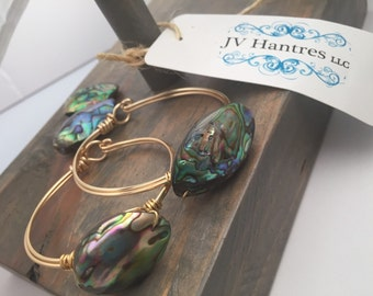 Large Abalone Shell Wire Clasp Bracelet - qty 1
