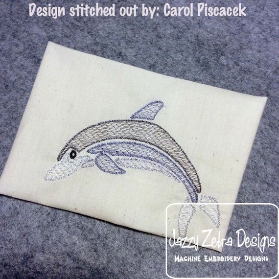 Dolphin Color Sketch Embroidery Design - summer Sketch Embroidery Design - beach Sketch Embroidery Design - dolphin Sketch Embroidery Design