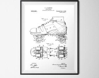 Roller Skate Patent, INSTANT DOWNLOAD, Patent Printable, Black & White, Vintage Nursery Print, Vintage Poster 18x24, Patent Illustration