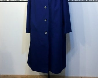 1960's Royal Blue Hipster Wool Fall Peacoat, Plus Size 22 2XL, Women's Vintage 1960's Pea Coat , 1960's Royal Blue Plus Size Pea Coat