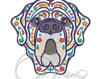 MACHINE EMBROIDERY DESIGN - Calavera Neapolitan Mastiff, Dia de los muertos, Mexican design, Halloween design, calavera dog, Day of the dead