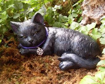 Cat Statue, Black Cat Statue, Black Cat Memorial, Garden Cat Statue,