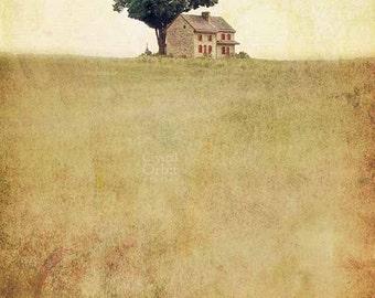 Landscape Print, Rustic Wall Art, Farmhouse Print, Rustic Photography, Country Art, Neutral Wall Art, Beige Home Decor, Mixed Media Print