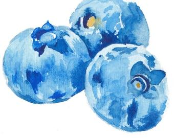 Blueberries Watercolor Print - fruit painting, kitchen print, home decor