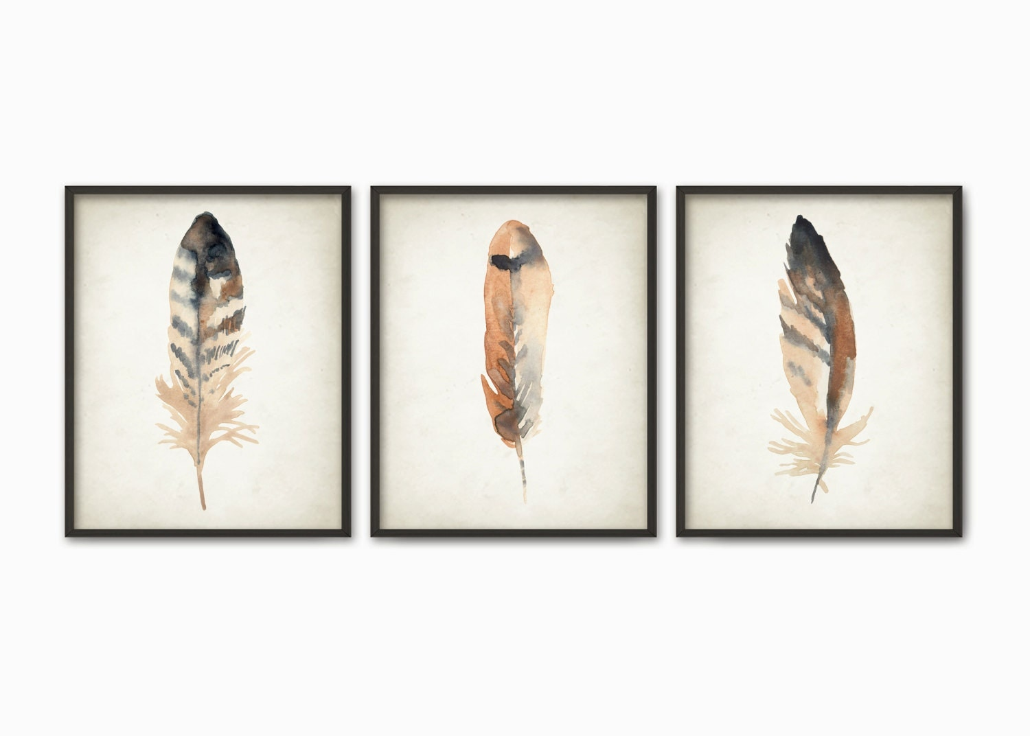 Watercolor Feathers Wall Art Print Set of 3 Modern Home