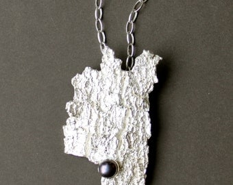 Sterling silver tree bark necklace