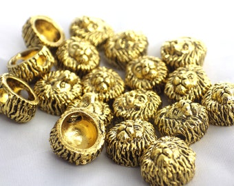 20 x Gold Metal Lion Head Beads
