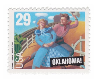 10 Unused Vintage Postage Stamps - 1993 29c Broadway Musical - Oklahoma - Item No. 2722