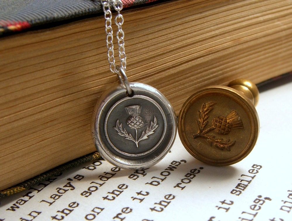 thistle necklace wax seal necklace scotland jewelry