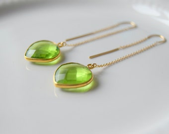 Gold Peridot Threader Earrings, Peridot Earrings, Gold Earrings, August Birthstone Earrings, Green Earrings, Gift for Her