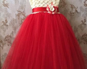 Ivory and red empire tutu dress, crochet tutu dress, baby tutu dress, toddler tutu dress, wedding tutu dress