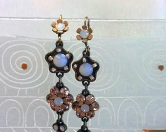 Peach Crystal Flower Hanging Earrings