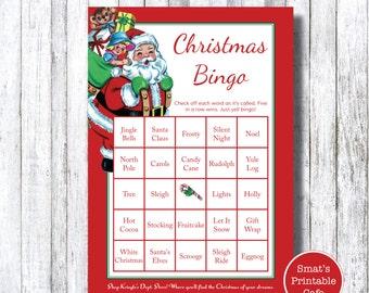 Printable Christmas Bingo Game - PRINTABLE Kringle's Christmas Department Store Theme - Printable Christmas Party Game - Vintage Santa