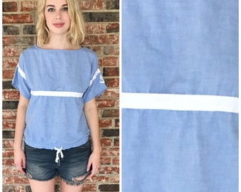 1970s Nautical Chambray Blouse with tie bottom and anchor detail