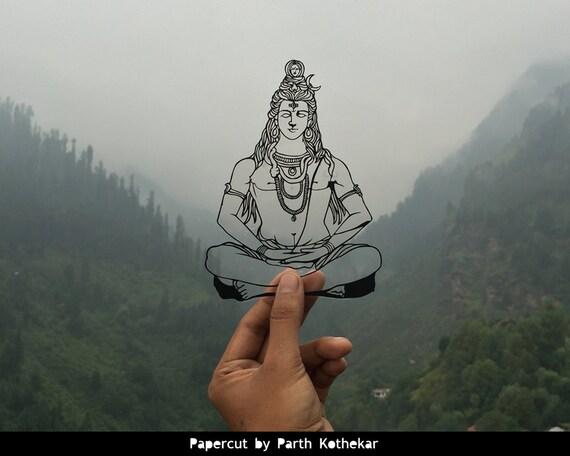 Illustration de Shiv - Inde - Dieu - Papercut - art - Papercutting - Papercraft - Paperart - fait main - découpé à la main - Papercraft - papier-