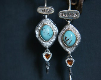 Turquoise earrings, topaz earrings, long earrings, modern earrings, sterling silver and gold earrings, ancient style, latin quote, unique