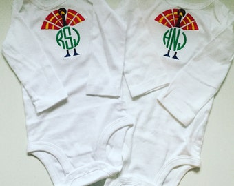 Monogrammed Turkey/Thanksgiving Cotton Onesie- Longsleeve or Shortsleeve
