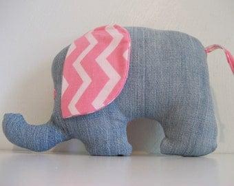 pink eared denim elephant pillow, stuffed animal, denim animal, kids nap pillow