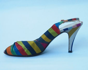 Rainbow Slingback Shoes size 8
