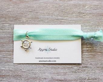 Light Mint Green Silver Wheel Hair Tie