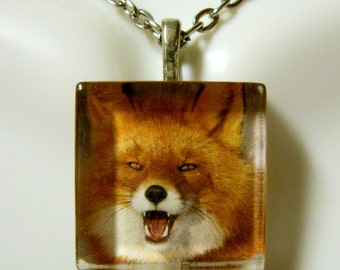 Red fox pendant and chain - WGP01-025
