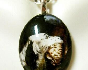 English setter glass pendant - DGP12-034