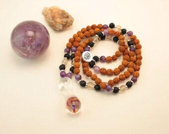 XLB Glass Collab! Rudraksha, Lepidolite, Lava Stone, Citrine 108 bead mala with blown borosilicate glass mushroom pendant & lotus charm.
