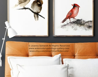 Birds Painting, Brown and Red Art Print, Set of 2 Watercolor Paintings, Sparrow and Cardinal Bird Home decor housewares