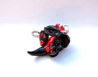 Playful Black Clay Dragon Keychain