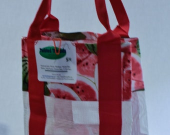 Self standing Watermelon Reusable Grocery Shopping Bag Help Save our Planet
