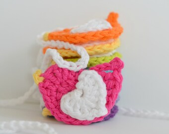 Rainbow Birdie Crocheted Garland