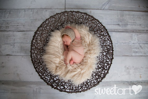 Latte / Cream Faux Fur Prop, Ready to Ship, Newborn Baby Photo Prop,  Layering Blanket, Neutral Photo Prop.