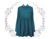 RC dark green turquoise oversized loose dress ala shirt w hand embroidery eyes  open back spooky halloween cute
