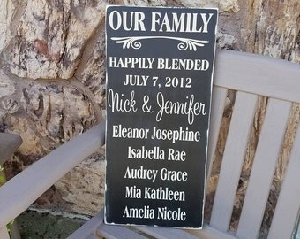 Happily Blended Sign, Blended Family Sign, Our Family Wooden Sign, Rustic  Family Sign